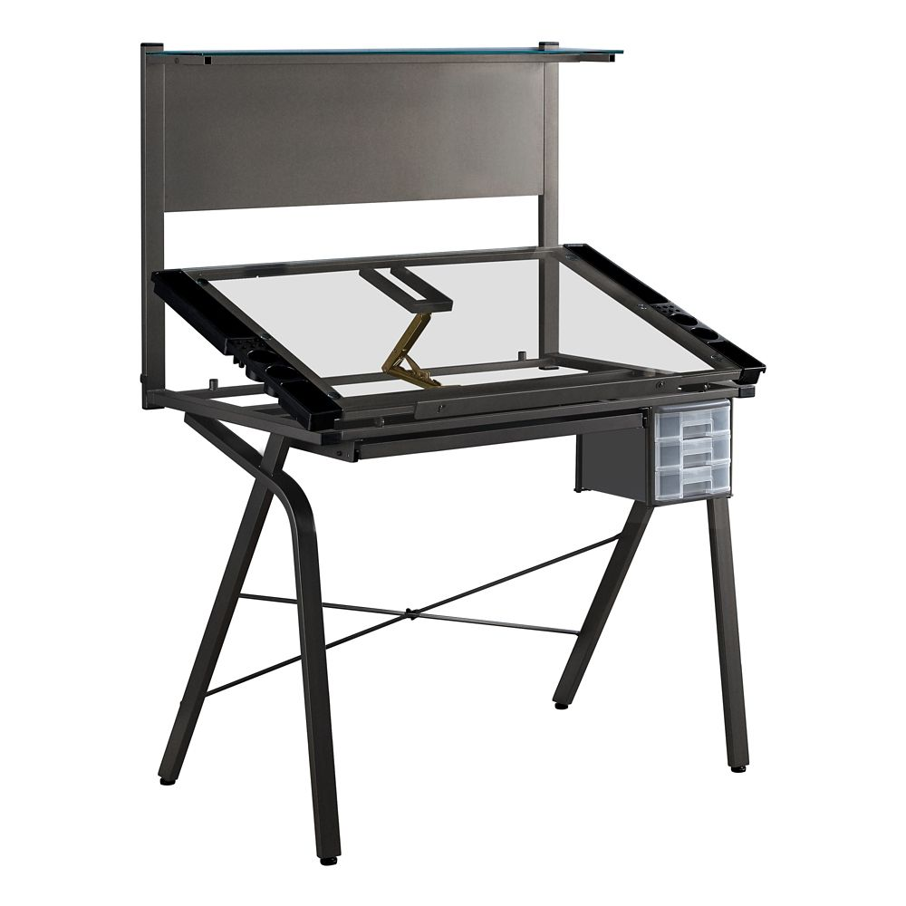 Monarch Specialties Drafting Table - Adjustable Grey Metal Tempered Glass