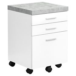 Monarch Specialties Filing Cabinet - 3 Drawer White Cement-Look On Castor
