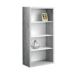Monarch Specialties Bookcase - 48-inch H White Cement-Look With Adj Shelves