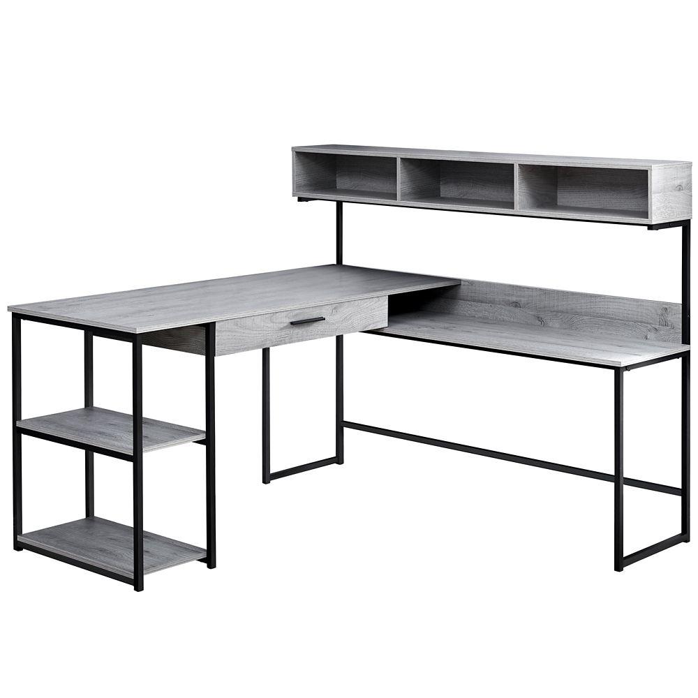 Computer Desk Grey Black Metal Corner