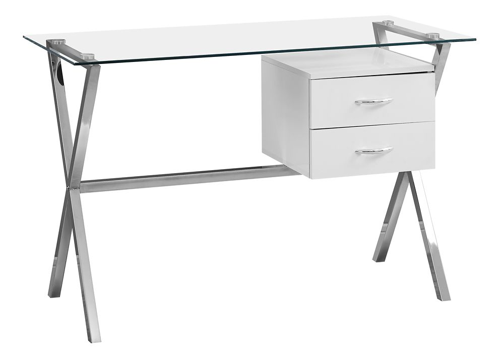 Monarch Specialties Computer Desk - 48-inch L Glossy White Tempered Glass