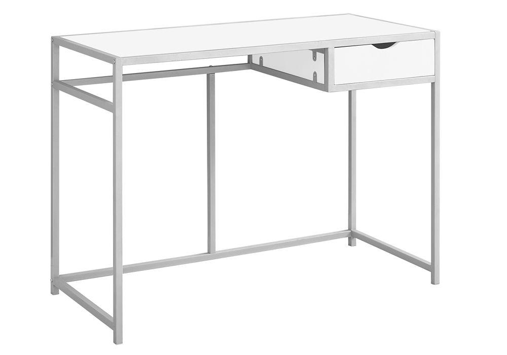 Monarch Specialties Computer Desk - 42-inch L White Silver Metal