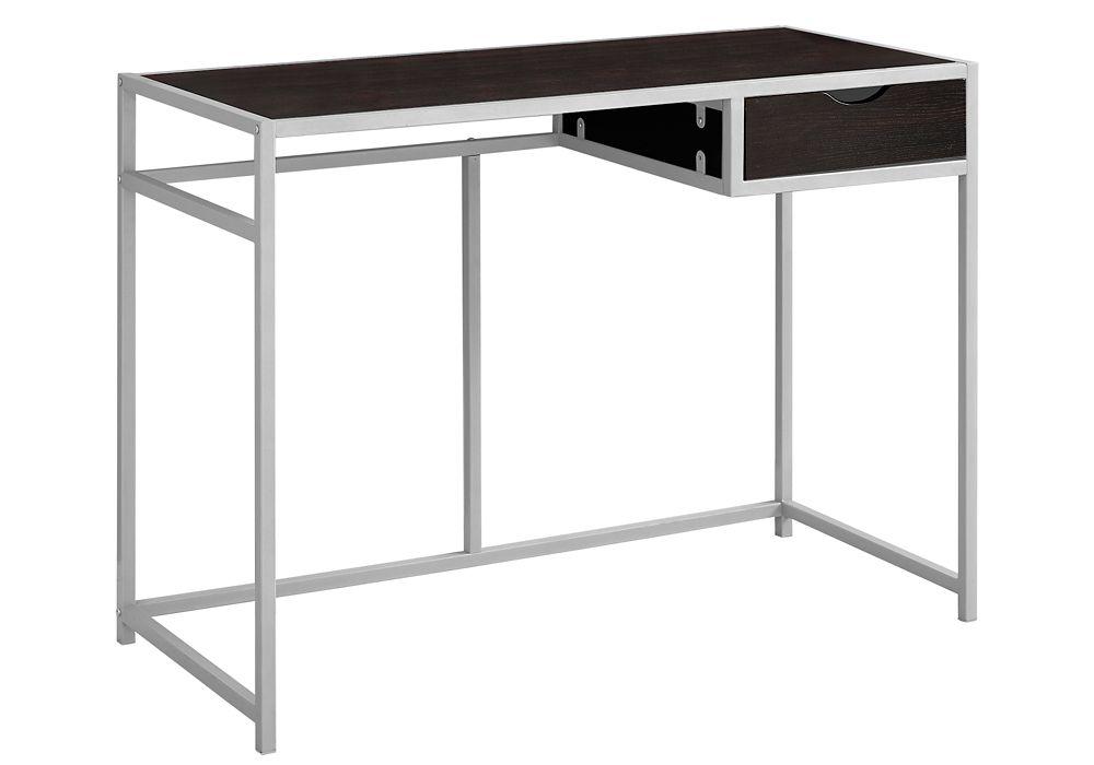 Monarch Specialties Computer Desk - 42-inch L Cappuccino Silver Metal