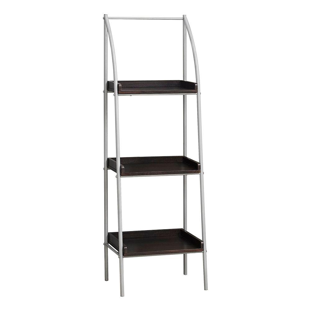 Monarch Specialties Bookcase - 48-inch H Cappuccino Silver Metal