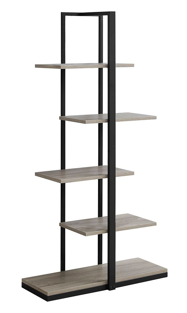 Monarch Specialties Bookcase - 60-inch H Dark Taupe W Black Metal