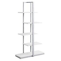 Monarch Specialties Bookcase - 60-inch H White W Silver Metal