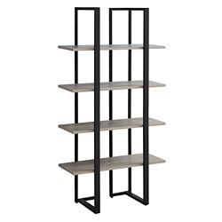 Monarch Specialties Bookcase - 60-inch H Dark Taupe W Black Metal