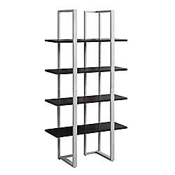 Monarch Specialties Bookcase - 60-inch H Cappuccino With Silver Metal