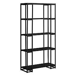 Monarch Specialties Bookcase - 60-inch H Black With Black Metal