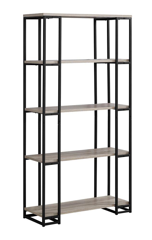 Monarch Specialties Bookcase - 60-inch H Dark Taupe Black Metal