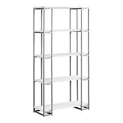 Monarch Specialties Bookcase - 60-inch H White Silver Metal