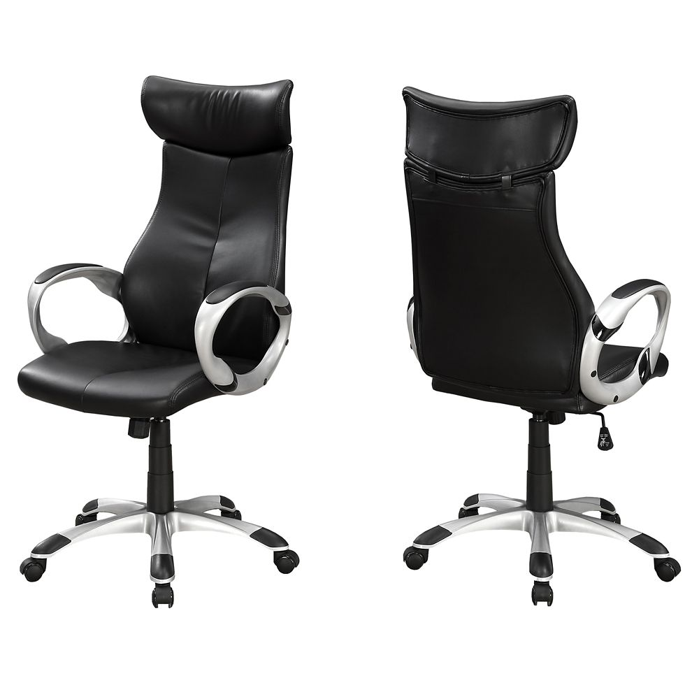 Monarch Specialties Office Chair - Black Leather-Look High Back Executive