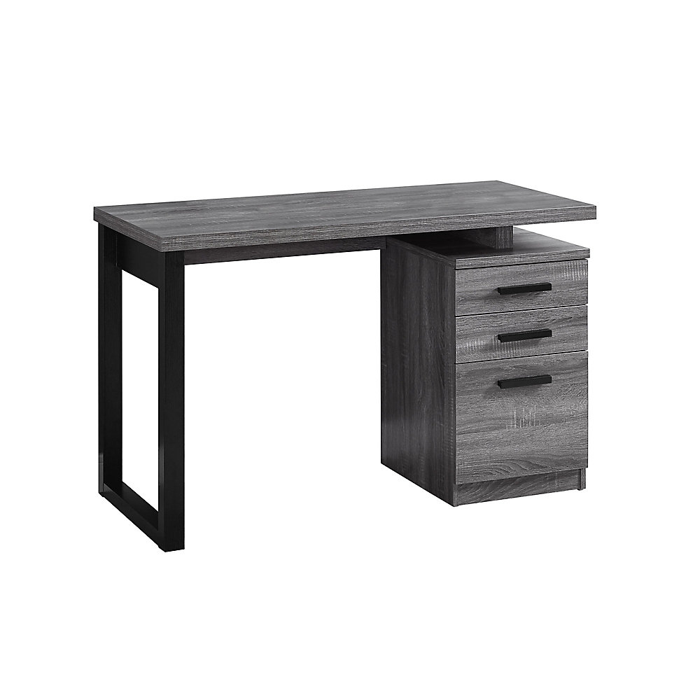 Miraculous Computer Desk 48 Inch L Grey Black Left Or Right Facing Best Image Libraries Sapebelowcountryjoecom