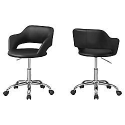 Monarch Specialties Office Chair - Black Chrome Metal Hydraulic Lift Base