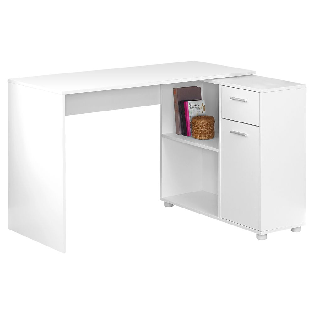 Monarch Specialties Computer Desk - 46-inch L White With A Storage Cabinet