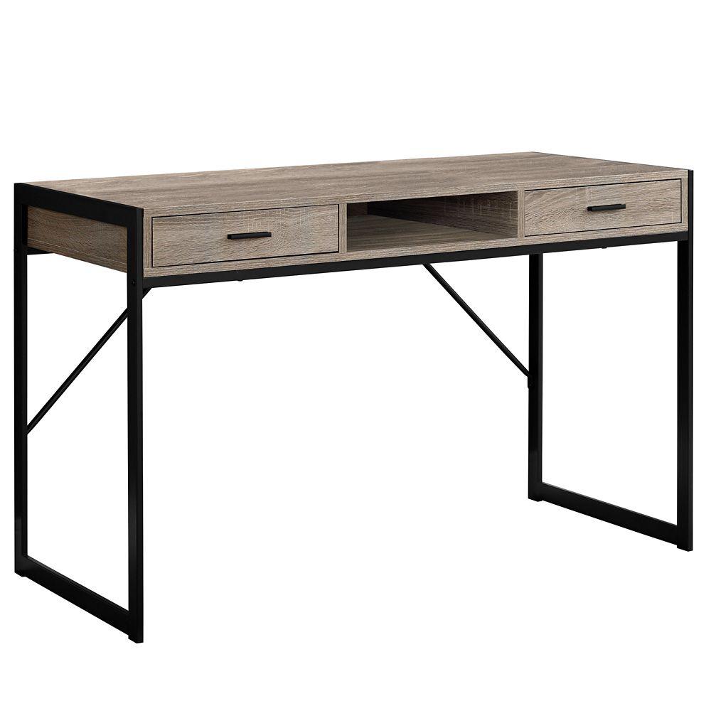 Monarch Specialties Computer Desk - 48-inch L Dark Taupe Black Metal