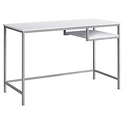 Monarch Specialties Computer Desk - 48-inch L White Silver Metal