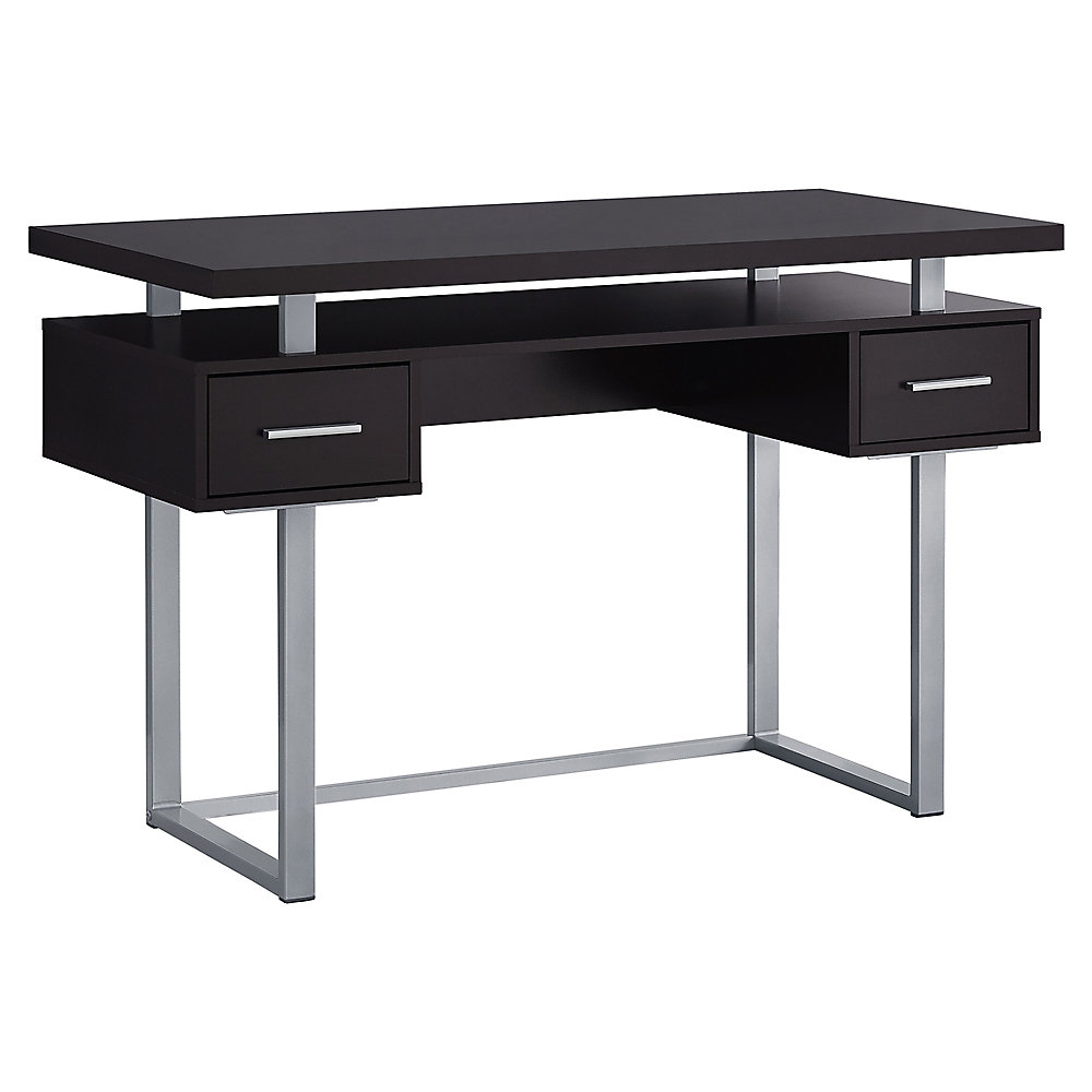 Excellent Computer Desk 48 Inch L Cappuccino Silver Metal Home Interior And Landscaping Dextoversignezvosmurscom