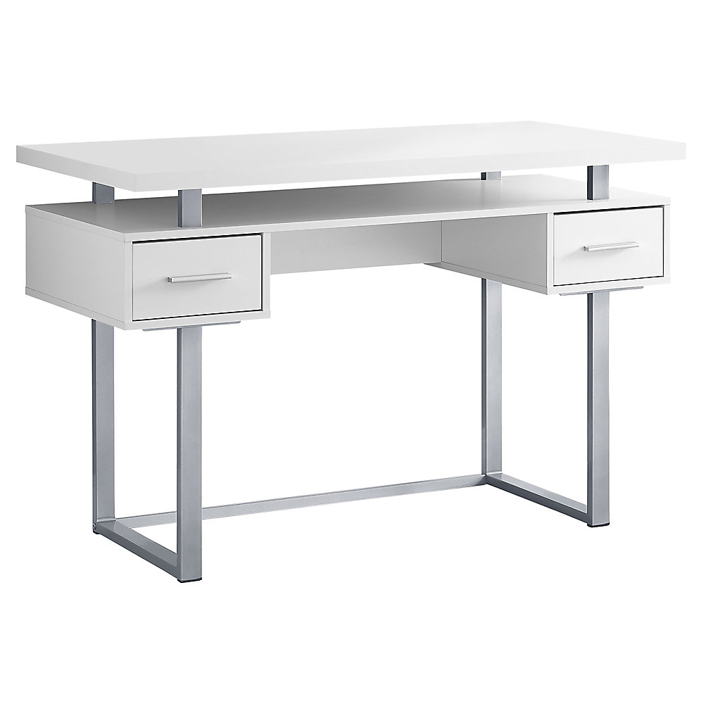 Outstanding Computer Desk 48 Inch L White Silver Home Interior And Landscaping Dextoversignezvosmurscom