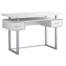 Monarch Specialties Computer Desk - 48-inch L White Silver