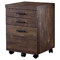 Monarch Specialties Filing Cabinet - 3 Drawer Brown Wood Grain On Castors
