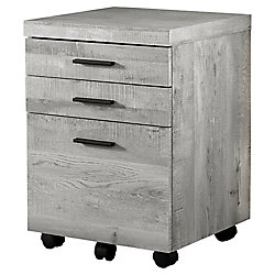 Monarch Specialties Filing Cabinet - 3 Drawer Grey Wood Grain On Castors
