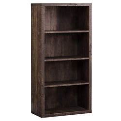 Monarch Specialties Bookcase - 48-inch H Brown Wood Grain Adjustable Shelves