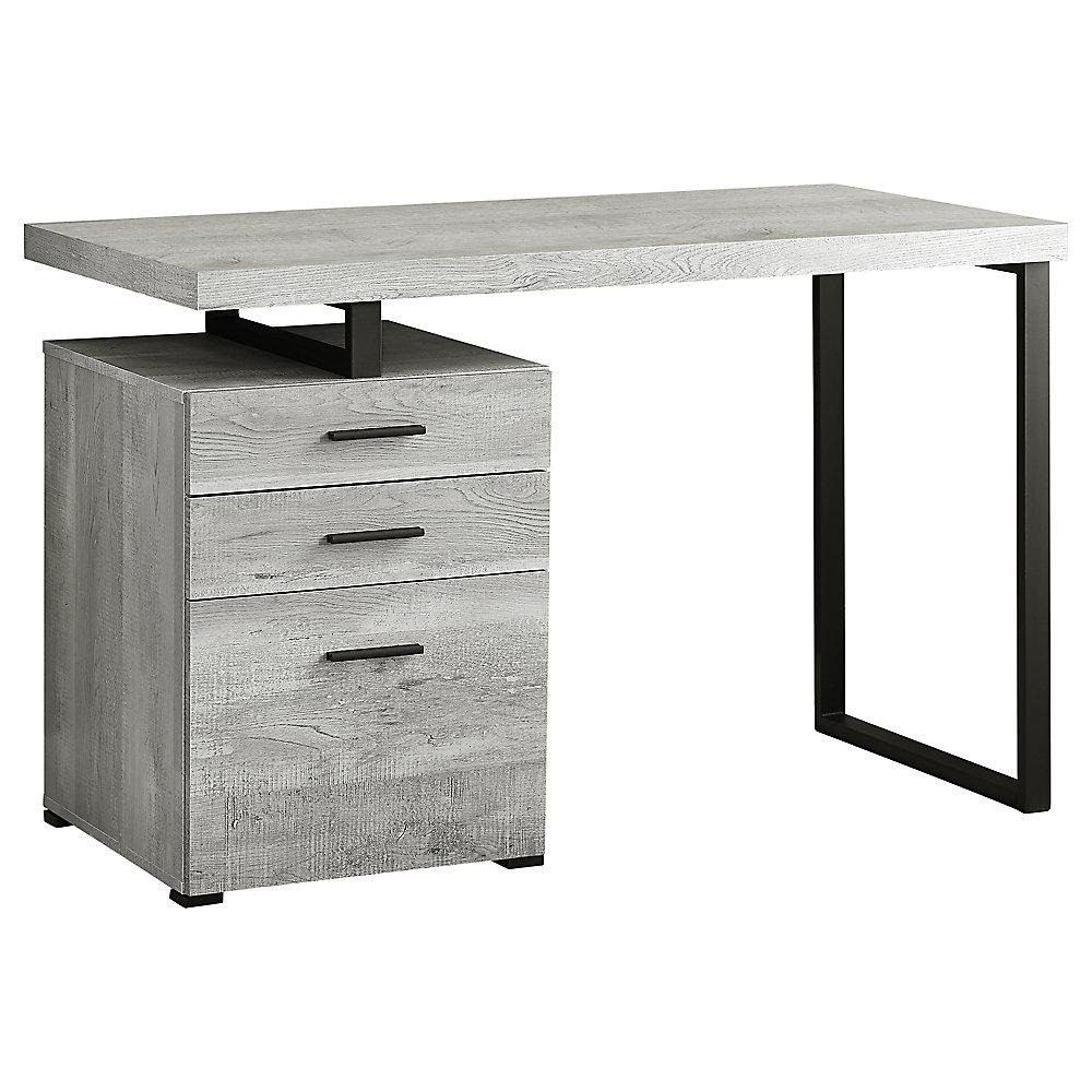 Outstanding Computer Desk 48 Inch L Grey Wood Grain W Black Metal Home Interior And Landscaping Elinuenasavecom