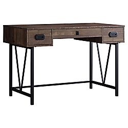 Monarch Specialties Computer Desk - 48-inch L Brown Wood Grain Black Metal