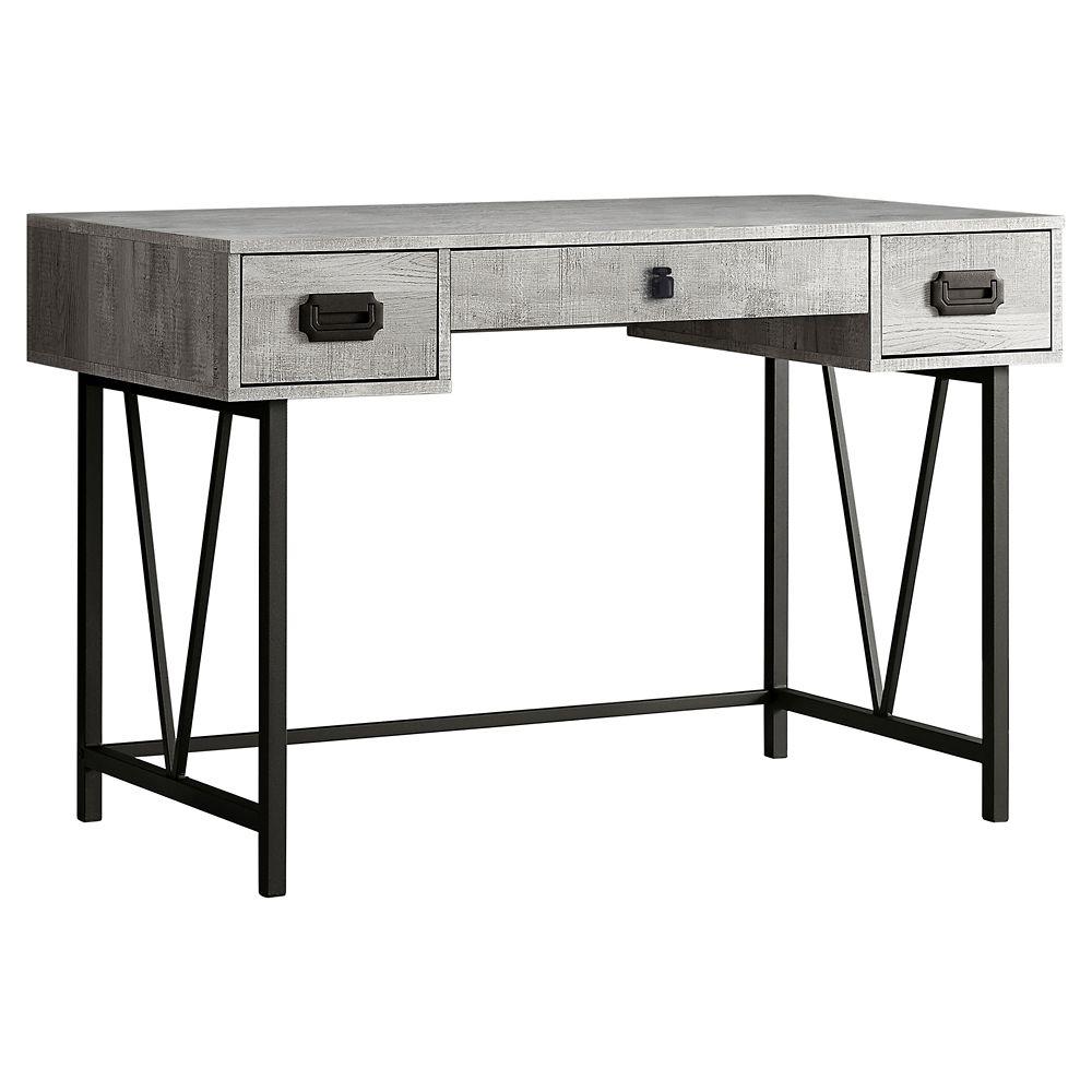 Monarch Specialties Computer Desk - 48-inch L Grey Wood Grain Black Metal