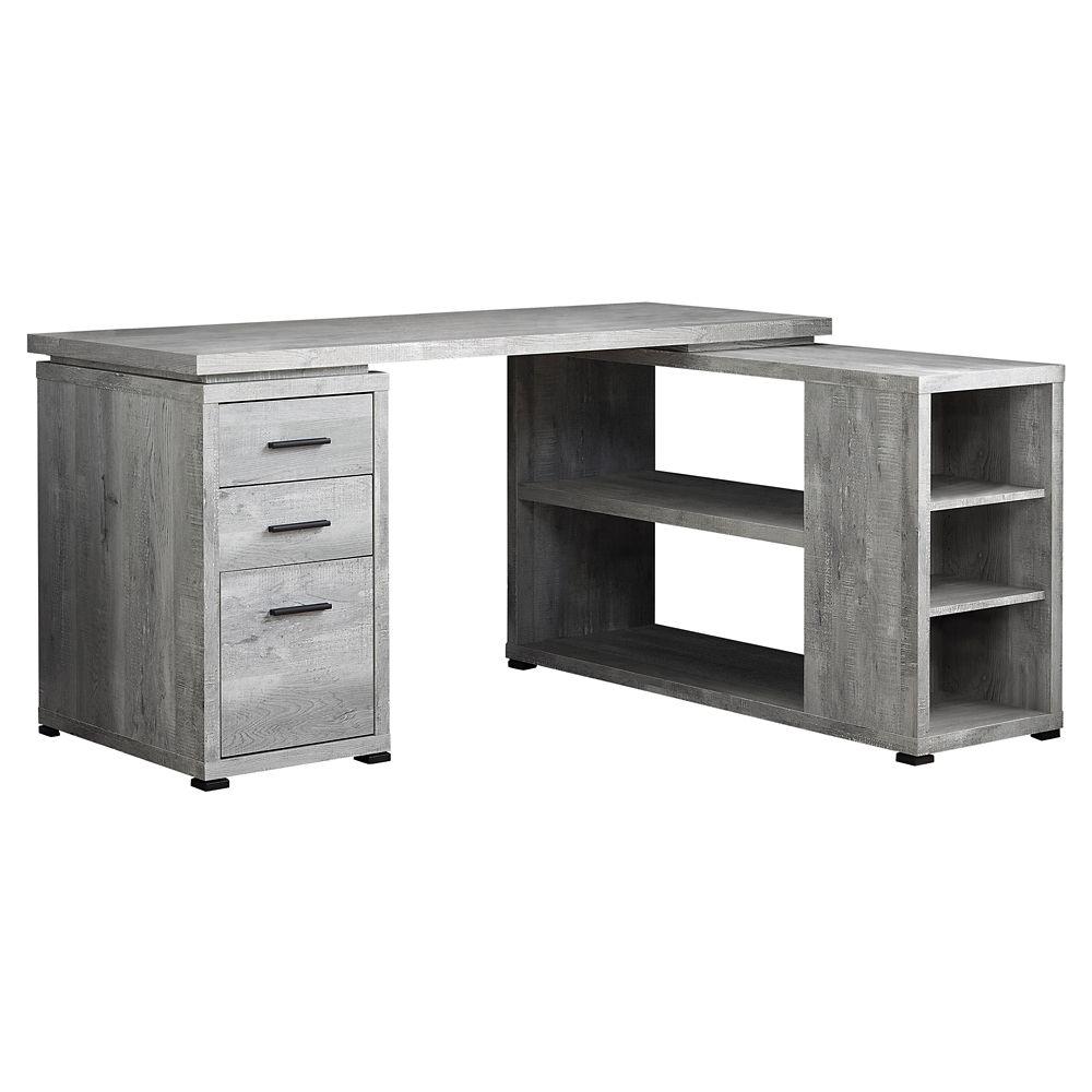 Monarch Specialties Computer Desk - Grey Wood Grain LR Facing Corner