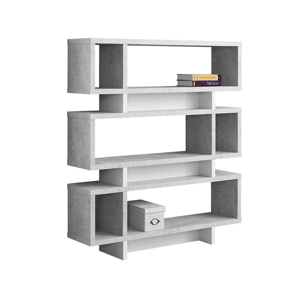 Monarch Specialties Bookcase - 55-inch H White Cement-Look Modern Style
