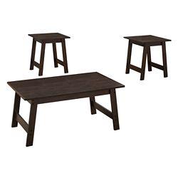 Monarch Specialties Table Set - 3-Piece Set Cappuccino