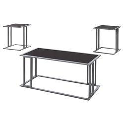 Monarch Specialties Table Set - 3-Piece Set Cappuccino W Silver Metal