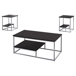 Monarch Specialties Table Set - 3-Piece Set Cappuccino Silver Metal