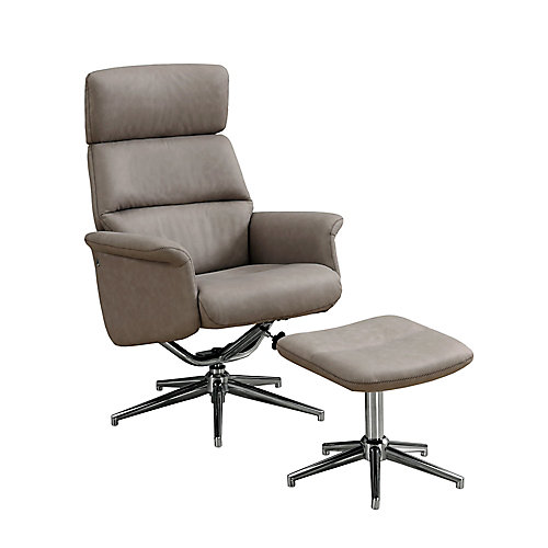 Reclining Chair - 2-Piece Set Taupe Swivel Adjust Headrest