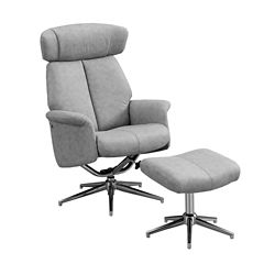 Monarch Specialties Reclining Chair - 2-Piece Set Grey Swivel -Adjust Headrest