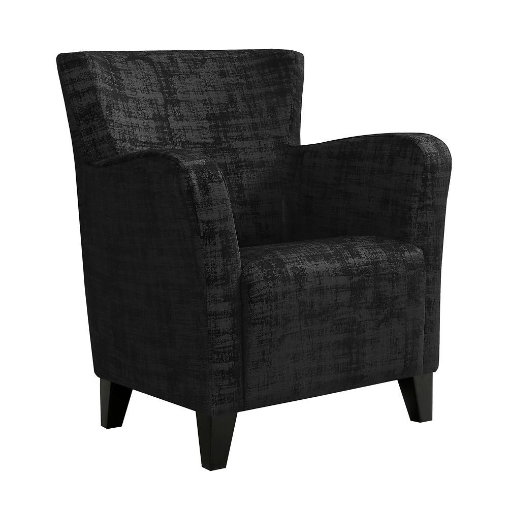 Monarch Specialties Accent Chair - Black Brushed Velvet Fabric