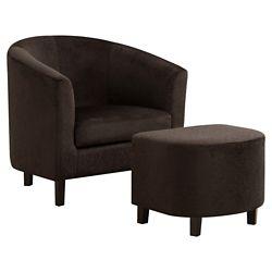 Monarch Specialties Accent Chair - Dark Brown Floral Velvet (Set of 2)