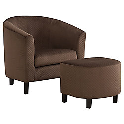 Monarch Specialties Accent Chair - Dark Brown Quilted Fabric (Set of 2)