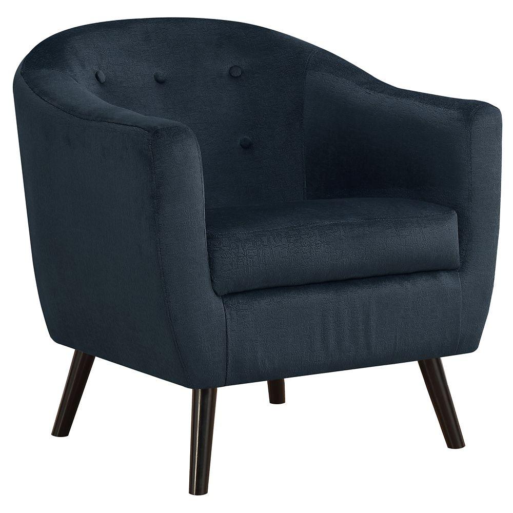 Monarch Specialties Accent Chair Dark Blue Mosaic Velvet