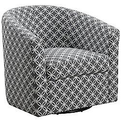 Monarch Specialties Accent Chair - Swivel Grey Circular Fabric