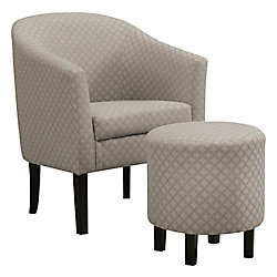 Monarch Specialties Accent Chair - Light Grey Geometric Fabric (Set of 2)