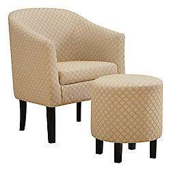 Monarch Specialties Accent Chair - Light Yellow Geometric Fabric (Set of 2)