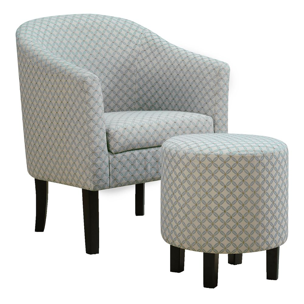 Monarch Specialties Accent Chair - Light Blue Geometric Fabric (Set of 2)