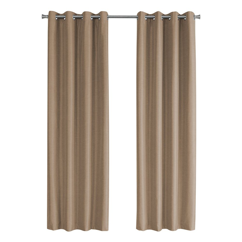 Monarch Specialties Curtain Panel - 2Pcs 52-inch W X 84-inch H Brown Solid Blackout