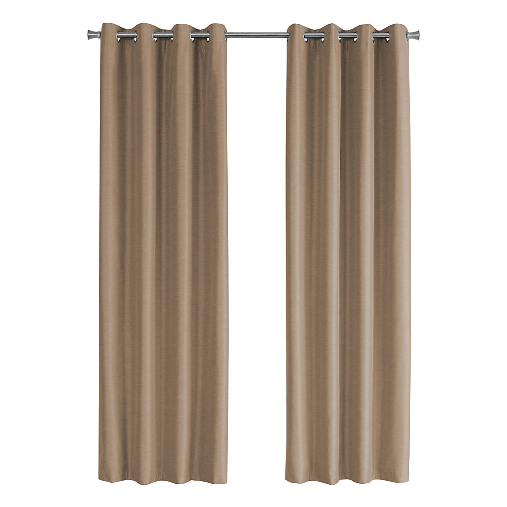 Curtain Panel - 2-Piece 52-inch W X 95-inch H Brown Solid Blackout