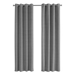 Monarch Specialties Curtain Panel - 2-Piece 52-inch W X 84-inch H Grey Solid Blackout