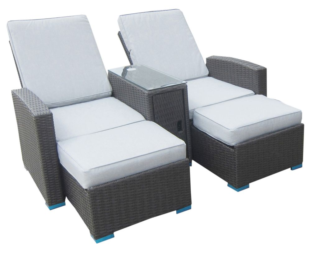 Henryka 3 Piece Conversation Set With Light Blue Cushions