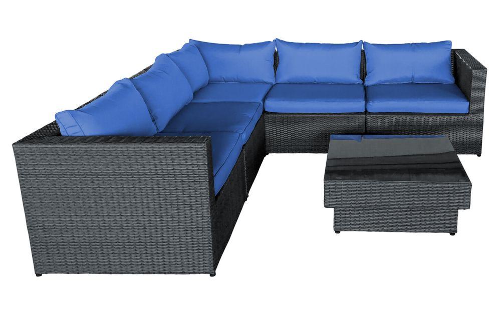 Henryka 6 Piece Sofa Set With blue Cushions
